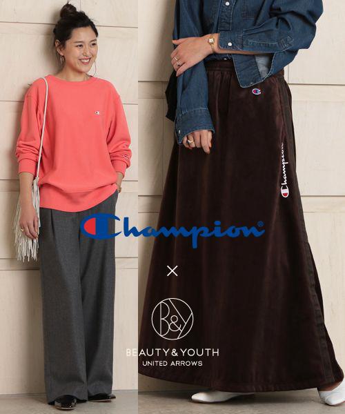 <Champion>別注第二弾。トレンドに色づいた新作スウェット&ベロアスカート