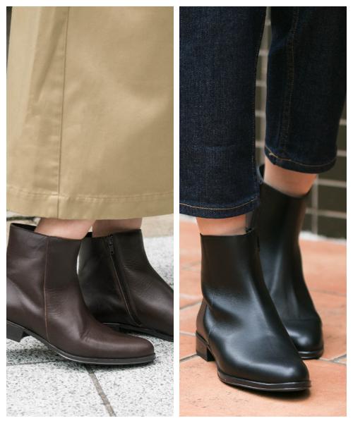 【予約】ローヒールにもかかわらず足をすっきりと魅せてくれるショートブーツ。